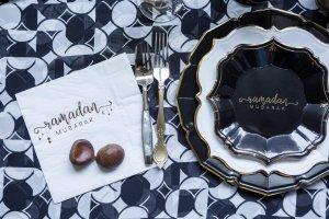Ramadan Black Dessert Plate (case of 12)