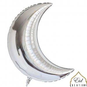 Crescent Silver Mylar Balloon (case of 12)