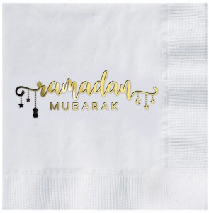 White Ramadan Mubarak Charm Dinner Napkins (case of 12)